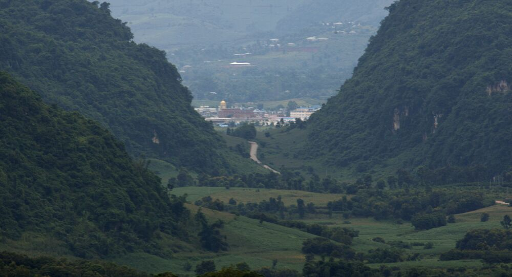 Myanmar's Kokang region seen from the Chinese side from a hilltop observation pavilion in Nansan in southwestern China's Yunnan Province.
