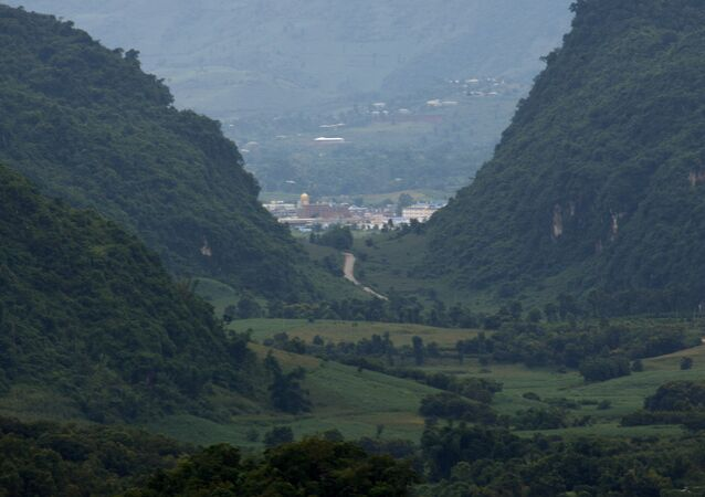 Myanmar's Kokang region seen from the Chinese side from a hill top observation pavilion in Nansan in southwestern China's Yunnan province.