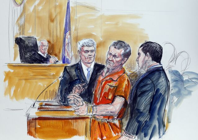 In this Friday Nov. 7, 2014 file artist rendering, Irek Hamidullin, front center, his attorney Robert Wagner, front left, and interpreter Ihab Samra, front right, appear in federal court as judge Henry Hudson, left, listens in Richmond, Va.