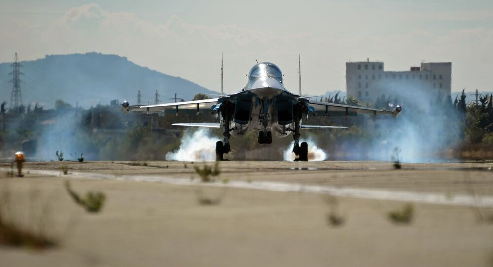 A multifunctional fighter-bomber Su-34 of the Russian Aerospace Forces lands at Hemeimeem air base in Syria