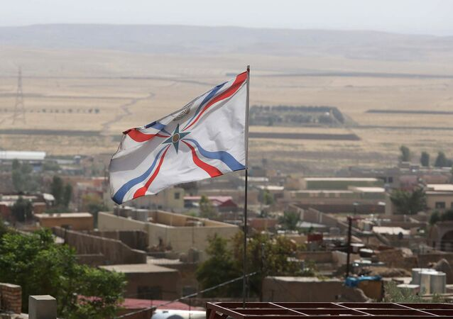 Christian Assyrian flag. File photo