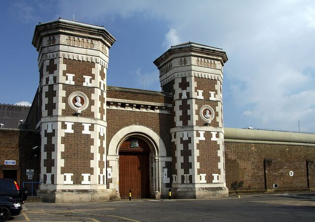 Main gate to the HM Prison Wormwood Scrubs in London, England, Great Britain