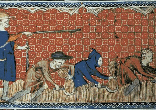 Queen Mary's Psalter shows men harvesting in 14th century Europe