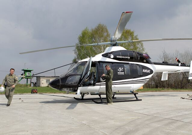 The new Ansat, seen here at OAO Kazan Helicopter Plant's testing facility.