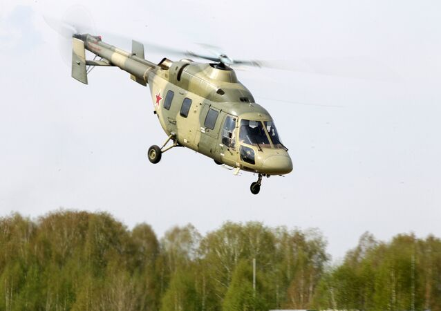 The helicopter Ansat is demonstrated at the testing facility of the OAO Kazan Helicopter Plant, part of the Helicopters of Russia, a Russian helicopter building holding