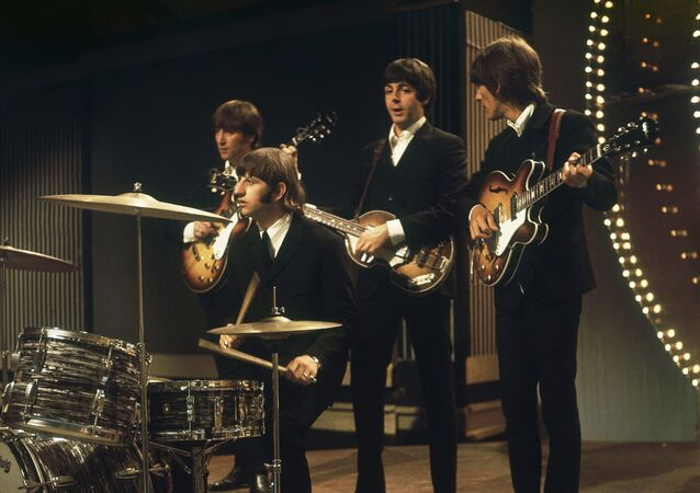 The Beatles perform at TV studios in London, June 1966, prior to their tour in Germany and Japan