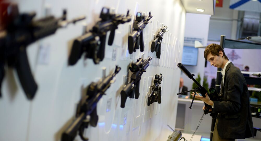 Kalashnikov mount displayed at the Russian Defense Ministry's Innovation Day 2015 exhibition, on the premises of the congress and exhibition center of the Russian armed forces in Kubinka, Moscow Region