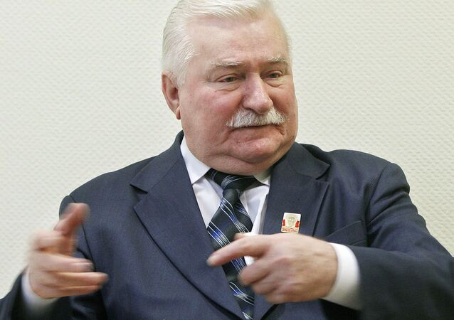 Poland's former president and Solidarity leader Lech Walesa talks with The Associated Press in Warsaw, Poland, Thursday, Feb. 19, 2015