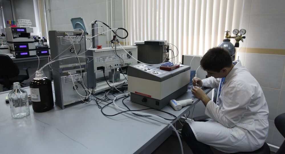 An employee working in the laboratory of the anti-doping center accredited by the World Anti-Doping Agency (WADA), in Moscow