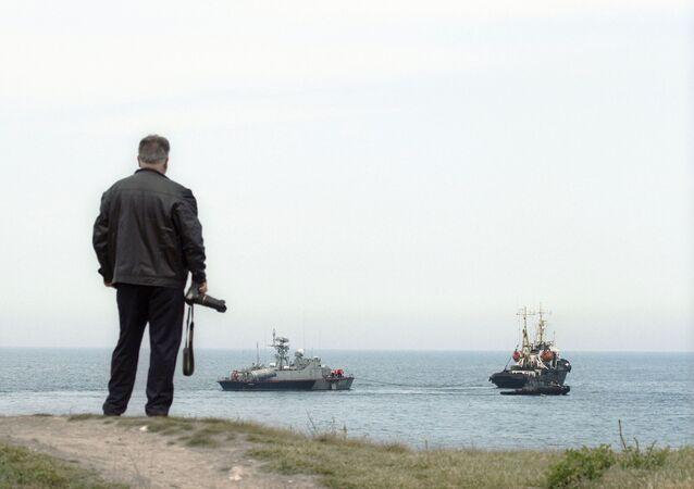 Ukraine's missile boat Priluki and tanker Fastov leave maritime port