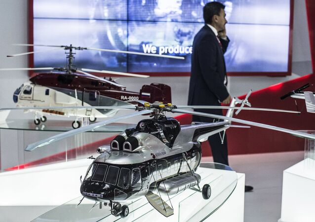 The Russian Helicopters stand at the 2015 Dubai Airshow international exhibition.