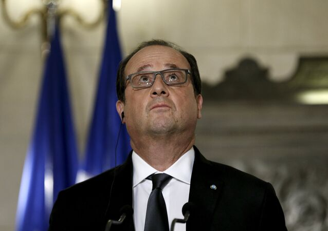 French President Francois Hollande looks on during a joint news conference with Greek Prime Minister Alexis Tsipras (not pictured) in Maximos Mansion in Athens, Greece, October 23, 2015.