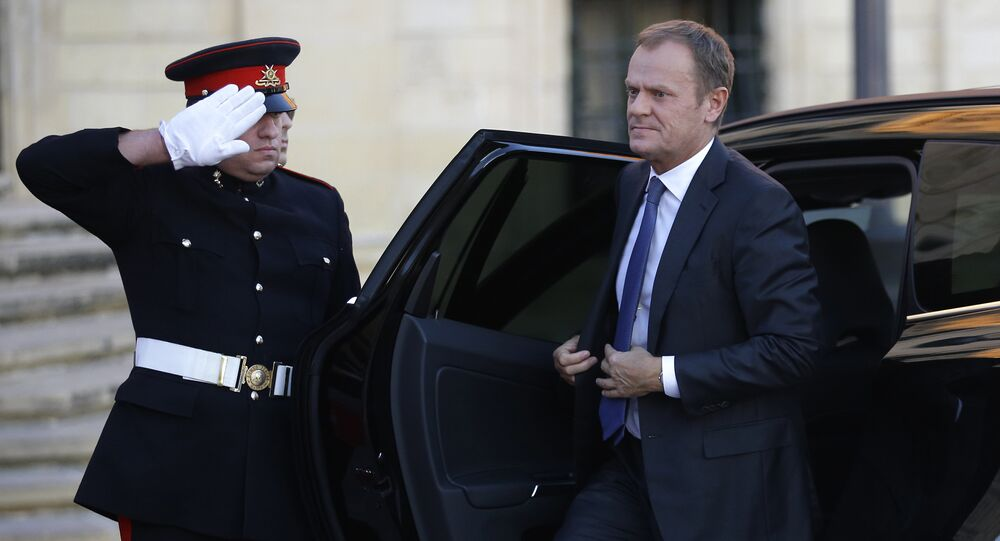President of the European Council Donald Tusk arrives to meet Maltese Prime Minister Joseph Muscat on the occasion of a summit on migration in Valletta, Malta, Tuesday, Nov. 10, 2015.