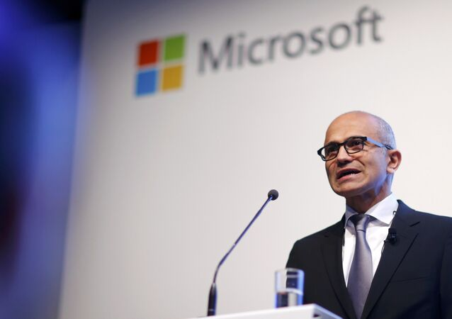 Microsoft CEO Satya Nadella holds a speech to present the companies new cloud strategy for Germany in Berlin, November 11, 2015