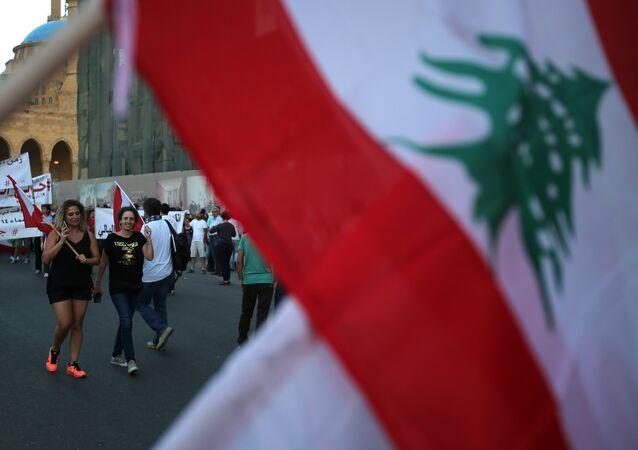 A Lebanese flag.