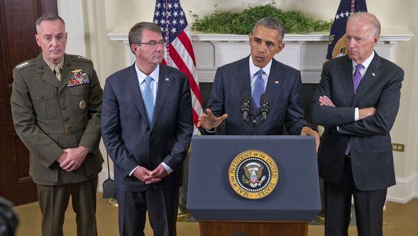President Barack Obama, accompanied by, from left, Joint Chiefs Chairman Gen. Joseph Dunford, Defense Secretary Ash Carter and Vice President Joe Biden, speaks about Afghanistan. - Sputnik International