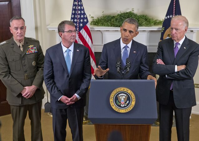 President Barack Obama, accompanied by, from left, Joint Chiefs Chairman Gen. Joseph Dunford, Defense Secretary Ash Carter and Vice President Joe Biden, speaks about Afghanistan.