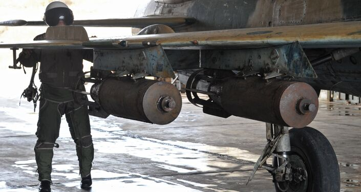 Syrian air bombs at the Hama airbase near the city of Hama, Syria's Hama Province.