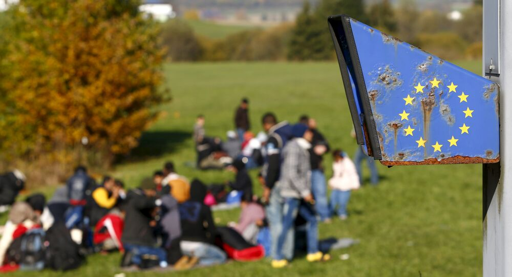 Migrants arrive at the Austrian-German border in Wegscheid near Passau, Germany, October 27, 2015.