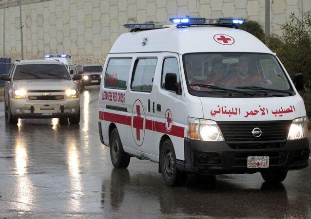 A convoy of Lebanese Red Cross ambulances