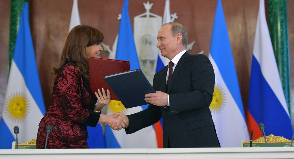 Presidents Vladimir Putin of Russia and Cristina Fernandez de Kirchner seen during the ceremony of signing joint documents on the results of Russian-Argentinian talks in the Kremlin, April 23, 2015