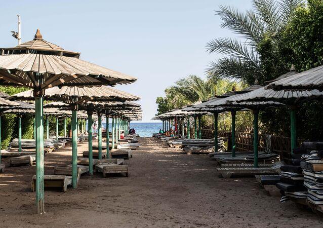 An empty public beach is seen in Namaa Bay, Sharm el-Sheikh.