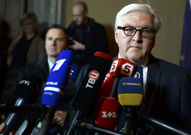 German Foreign Minister Frank-Walter Steinmeier speaks to media after the Normandy format meeting in German foreign ministry's guest house Villa Borsig in Berlin, November 6, 2015