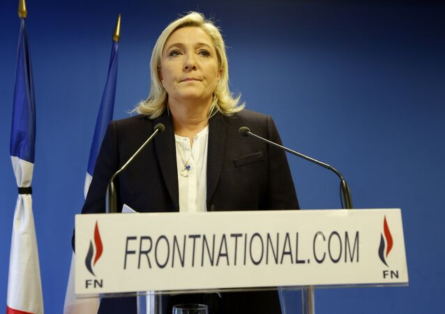 Leader of the French Far-right party the Front National (FN) Marine Le Pen