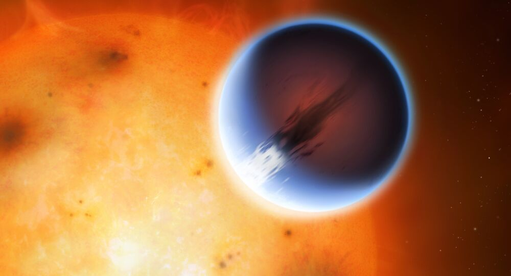 The planet HD 189733b is shown here in front of its parent star