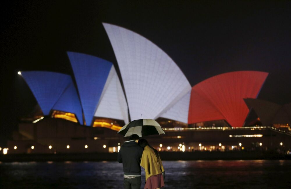 The Opera House in Sydney, Australia, lit up in the French national colors in remembrance of the victims of the November 13th Paris terror attacks. The local town hall was bathed in the French colors as well.