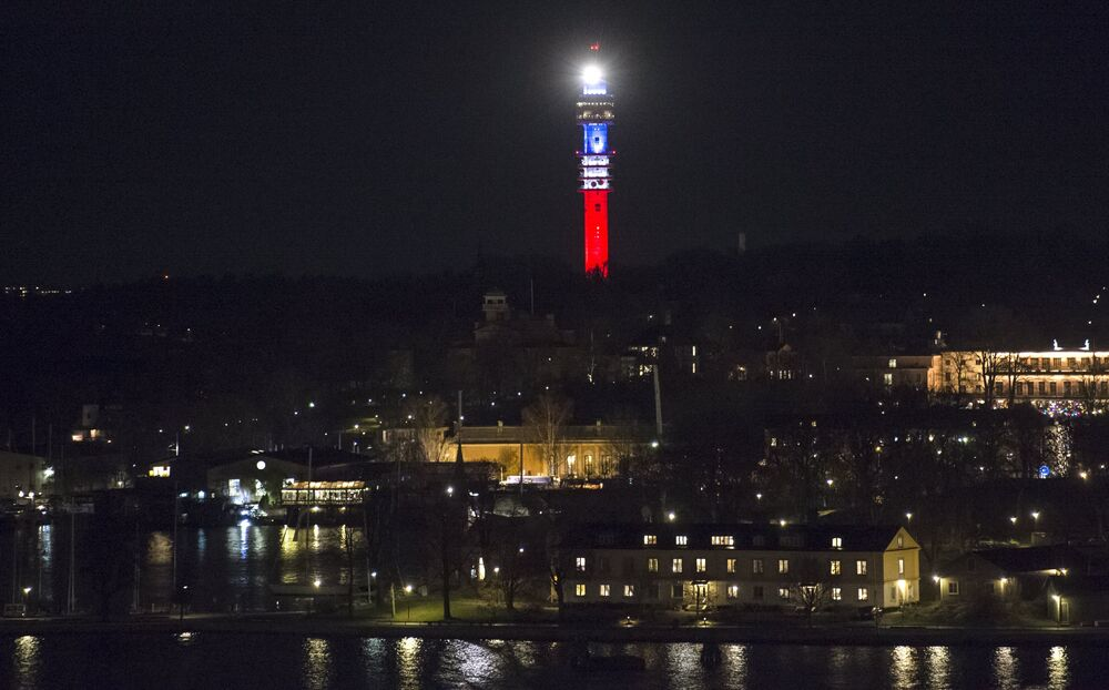 Kaknastornet, the Swedish TV signal tower in Stockholm, is illuminated in the French colors blue, white and red in honor of victims of the November 13th attacks in Paris.
