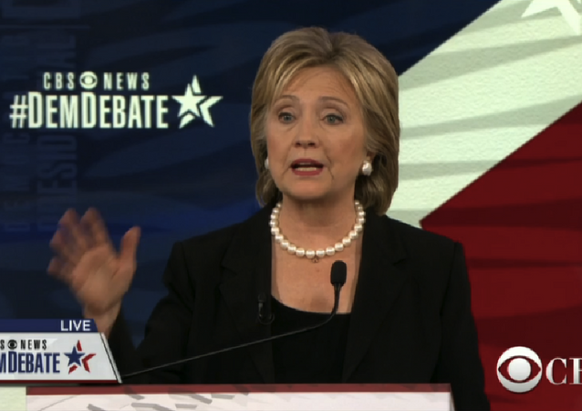 A screenshot of presidential candidate Hilary Clinton taking part in the CBS Democratic Debate, November 14, 2015