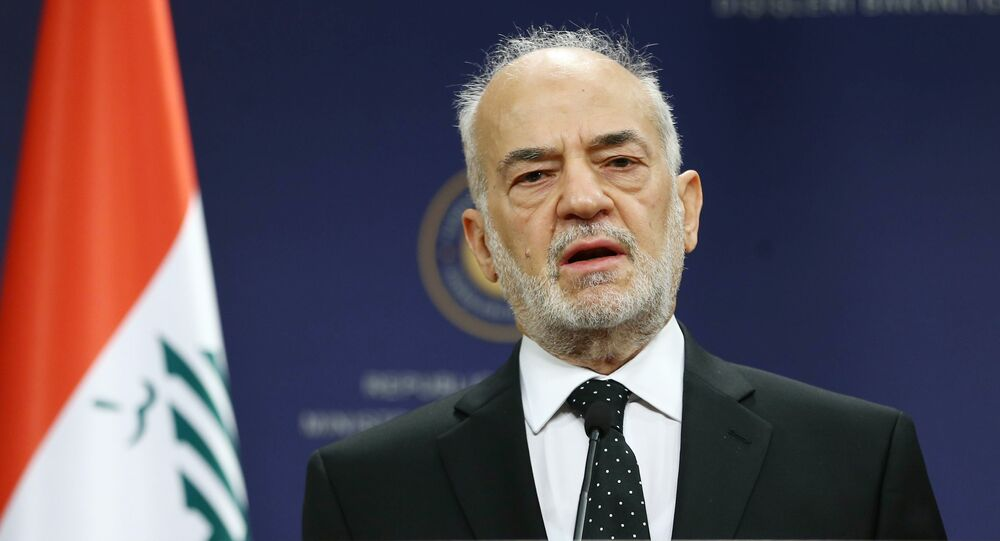 Iraqi Foreign Minister Ibrahim al-Jaafari addresses the media during a joint press briefing with his Turkish counterpart, within their meeting at the Foreign Ministry building in Ankara on July 14, 2015