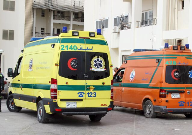 Ambulances carrying some dead migrants are seen in front of the hospital at Al Arish city, in the northern part of Sinai peninsula, Egypt, November 15, 2015