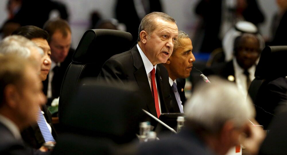 Turkey's President Recep Tayyip Erdogan (C) delivers opening remarks at in a working session on the global economy with fellow world leaders at the start of the G20 summit at the Regnum Carya Resort in Antalya, Turkey, November 15, 2015