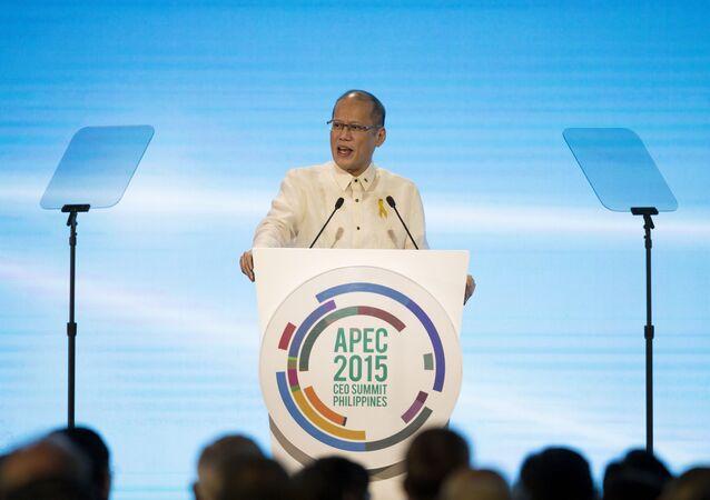 Philippine President Benigno Aquino III speaks during the opening ceremony of Asia Pacific Economic Cooperation (APEC) 2015 CEO Summit in Manila, Philippines, 16 November 2015