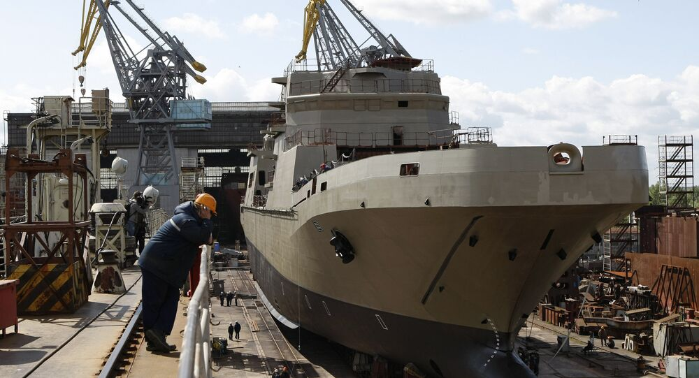 The landing craft Ivan Gren, built for the Russian Defense Ministry, at the Yantar Shipyard, Kaliningrad.