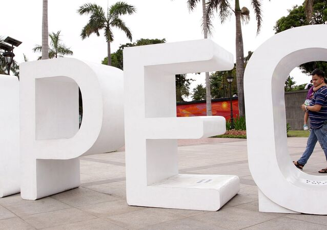 A resident carries his child past an Asia-Pacific Economic Cooperation (APEC) sign in Manila's Rizal park, where the APEC summit will be held next week, in Manila November 15, 2015