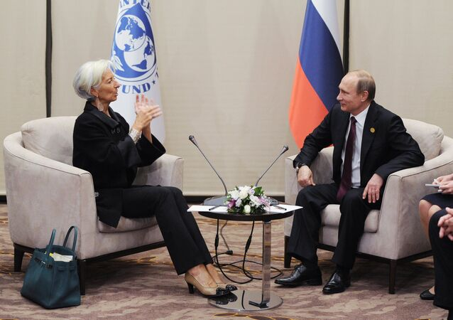 Russian President Vladimir Putin and IMF Managing Director Christine Lagarde during their meeting on the sidelines of the G20 summit in Antalya, Turkey, November 15, 2015.