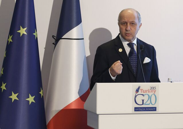 French Minister for Foreign Affairs Laurent Fabius speaks during a press conference at the G-20 Summit on November 16, 2015 in Antalya