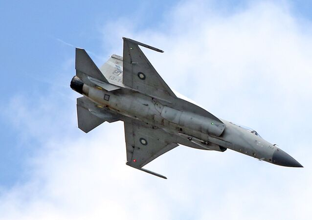 The JF-17 Thunder multi-role fighter jointly developed by China and Pakistan performs its demonstration flight at the Paris Air Show in Le Bourget, north of Paris, Tuesday June 16, 2015