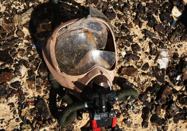 An oxygen mask on the crash site of the Airbus A321 that was carrying out Kogalymavia Flight 9268 from Sharm el-Sheikh to St. Petersburg, 100 km south of El Arish in the northern Sinai Peninsula