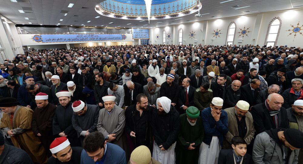 Muslims listen Eid al-Fitr sermons at the Lakemba Mosque in western Sydney on July 28, 2014