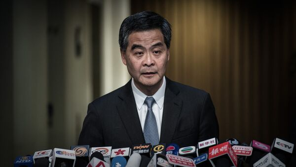 Hong Kong Chief Executive Leung Chun-ying addresses a press conference in Hong Kong on June 18, 2015 - Sputnik International