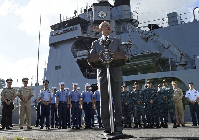 U.S. President Barack Obama speaks to reporters after touring the BRP Gregorio del Pilar in Manila, Philippines, Tuesday, Nov. 17, 2015