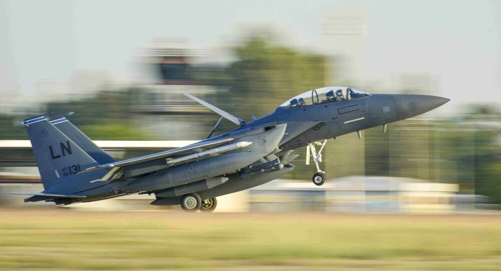 U.S. Air Force F-15E Strike Eagle from the 48th Fighter Wing lands at Incirlik Air Base, Turkey, November 12, 2015