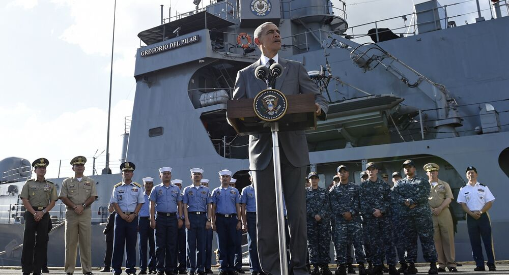 US President Barack Obama speaks to reporters after touring the BRP Gregorio del Pilar in Manila, Philippines, Tuesday, Nov. 17, 2015.