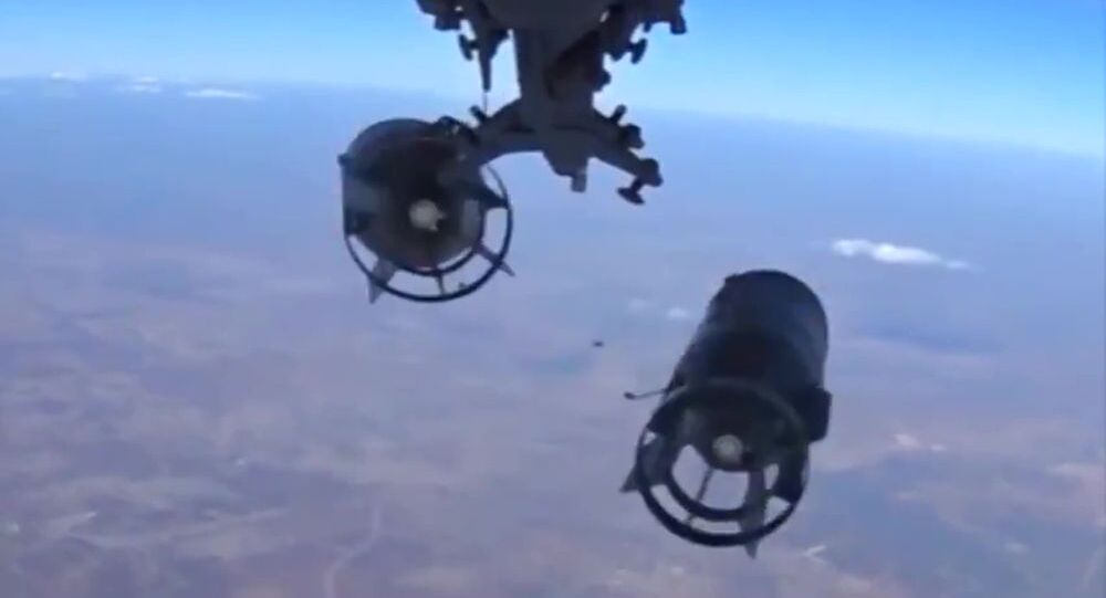 Bombs dropped by a Russian long-range bomber on a mission to launch a massive air strike on the Islamic State infrastructure in Syria