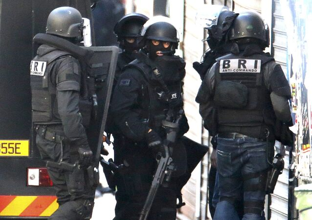 Members of French special police forces of Research and Intervention Brigade