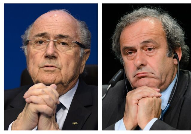 A combination made on October 29, 2015 shows two pictures showing Fifa president president Sepp Blatter (L) on May 30, 2015 in Zurich, and UEFA leader Michel Platini on May 28, 2015 in Zurich